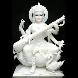 15 Inch Marble Saraswati Mata Statue