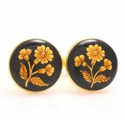 Cufflinks With Hand Painted Golden Flower On Black Enamel In .925 Silver