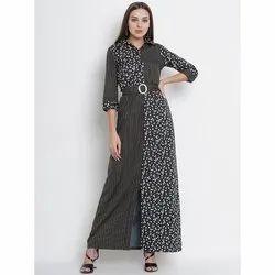 Party Wear Black Designer Crepe Ladies Gown, Size: S - Xxl