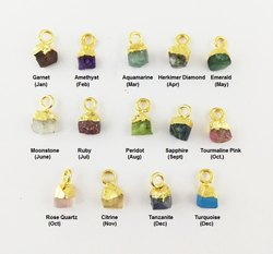 Tiny Raw Birthstone Gold Electroplated Charms