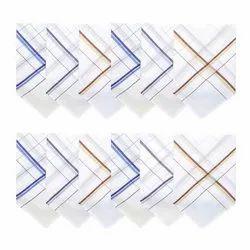 Multicolor Striped Men''''s Cotton Handkerchief White With Colorful Stripes, Size: Free