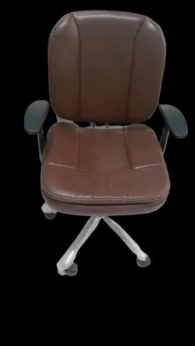 Brown Leatherette Cushioned Revolving Chair