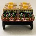MDF Wood Hand Painted Snack Serving Cart
