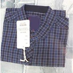 Cotton Checks Mens Checked Blue Collar Shirt, Machine Wash, Size: M-Xl