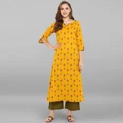 Janasya Women's Yellow Pure Cotton Kurta With Palazzo(SET018)