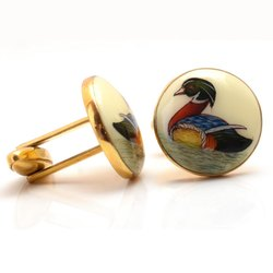 Hand Painted Duck Cufflinks in 92.5 Sterling Silver and Ivory Enamel