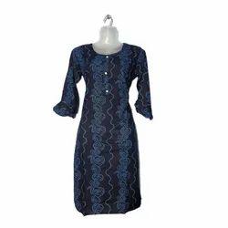 Casual Wear Bell Sleeves Printed Blue Ladies Cotton Kurti, Wash Care: Handwash