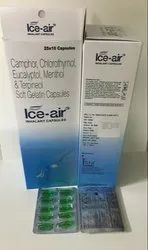 Ice Air Inhalant Camphor Chlorothymol, Eucalyptol, Menthol and Terpineol Capsule - 25X10 capsules