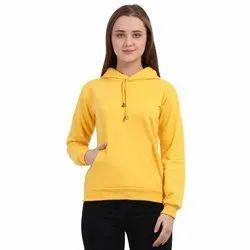 Women Lemon Yellow Cotton Blend Sweatshirt