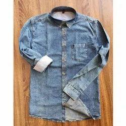 Collar Neck Men Full Sleeve Denim Shirts, Handwash
