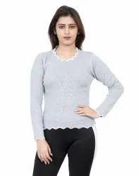 Women Plain Grey Woollen Sweater