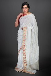 Party Wear Border Designer Dola Creap Chikan Saree, 6 m (with blouse piece)