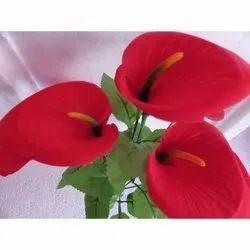 Polyester Red Anthurium Flower