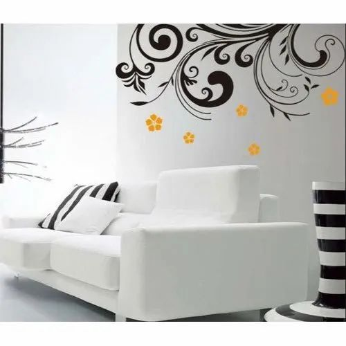 Pvc Black Red Living Room Wall Sticker, Living Room Wall Decals