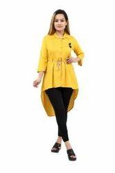 Rayon Yellow Ladies Midi Dress Girls, Size: XL