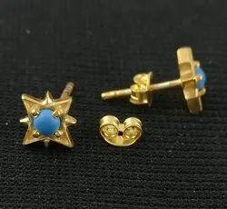 Turquoise Gold Vermeil Star Shape Stud Earring, Gemstone Stud Earring