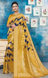 Yellow Color Designer Lichi Silk Saree