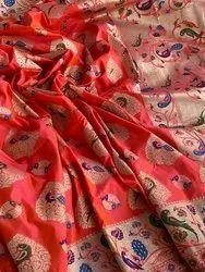 Casual Patola Banarasi Silk Handloom Saree With Blouse Peice