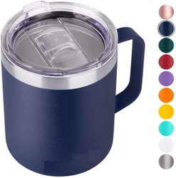 Coffee Mug, Vacuum Insulated Camping Mug With Lid, Double Wall Stainless Steel Travel Tumbler Cup