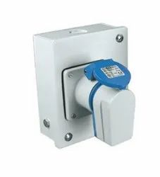 Panel Mounting Socket Outlet Angled IP67, 4  Pin, 63 Amp