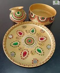 Red Stainless Steel Karvachauth Thali Set, For Karwa, Dimension: 11