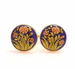 Cufflinks With Hand Painted Motif On Blue Enamel In .925 Silver