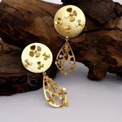 Gold Plated Round & Long Earrings Beautiful Earring