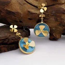 Gold Plated Brass Flower Earring Designer Shining Gemstone Earring Beautiful Earring For Her