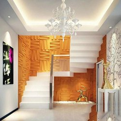 Stainless Steel Spiral Villa Interior Staircase wall, Work Provided: Wood Work & Furniture