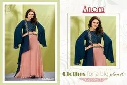 Georgette Bell Sleeves Anora Fashion Embroidered Sharara For Women, Size: M To Xxl