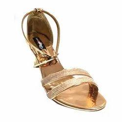 Heels Ladies Golden Party Wear Sandal, Size: 36-42