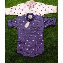 Back Bencher Collar Neck Men Stylish Printed Satin Shirt, Size: M-XL