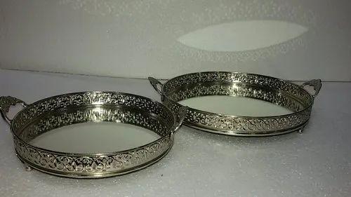 Handmade Brass Mirror Tray Shape, 30cm Round Mirror Tray