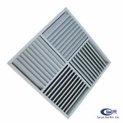 Powder Coated SAFWG Four Way Diffuser Grille, Linear, Shape: Square
