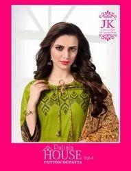44-45 Multicolor JK Patiyala House Cotton Suit Material