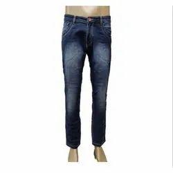 Narrow Fit Gray & Navy Blue Men Stretchable Faded Denim Jeans, Button & Zipper