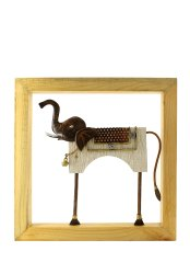 Multicolor Wrought Iron And Pine Wood Elephant Frame