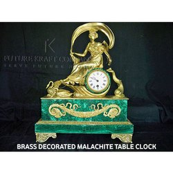 Brass Decorated Malachite Table Clock