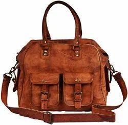 Adjustable Ladies Leather Handbag/ Shoulder Bag Vintage Brown, For Office