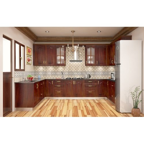 Modern U Shaped Wooden Kitchen Designing Service