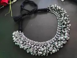 Silver Threaded Ghungru Necklace, Occasion: Party