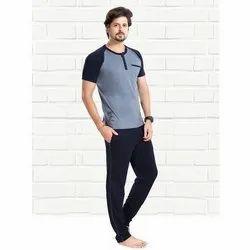 Plain Half Sleeve Men''s Cotton Nightwear T Shirt And Lower