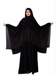 Women Korean Slub Diamond Work Long Abaya Burqa