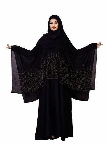 Women Korean Slub Diamond Work Long Abaya Burqa