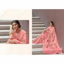 Party Wear Printed Jacquard Saree, 6 m (with blouse piece)