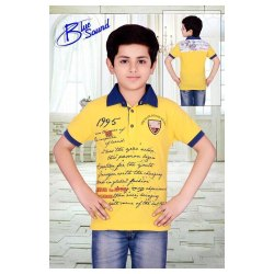 Blue Sound Cotton Kids Collar Neck T-Shirts, Size: 7-9 Years