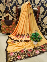 ChoiceEspecial Wedding Wear Soft Malai Silk Saree With Hand Work, 5.5 m (separate blouse piece)