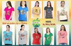 Half Sleeve Round Ladies Designer Cotton T Shirt, Size: Free Size