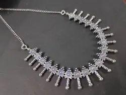 Party Oxidized Silver Imitation Necklace, Box