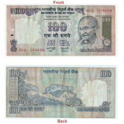 Rare Beautiful 100 Rs Ladder Serial number Banknote 123456 Fancy number. G5-79